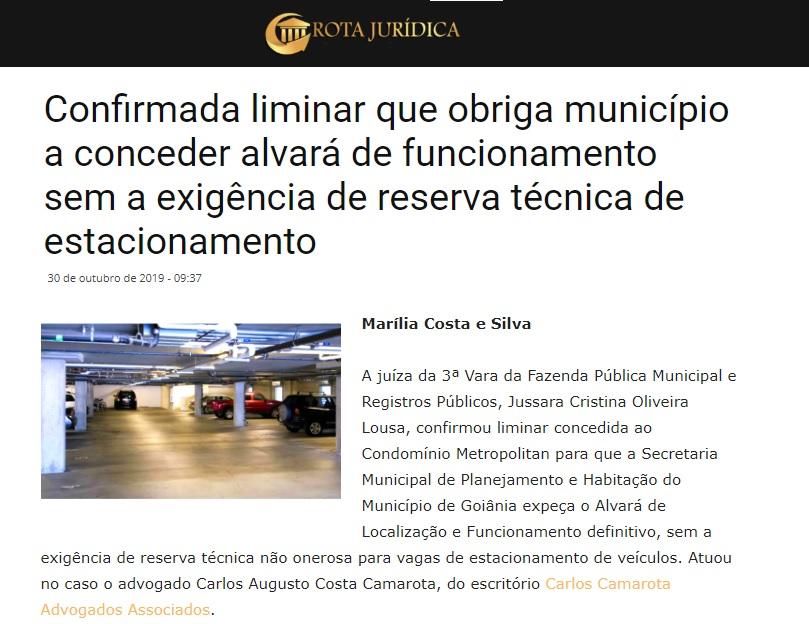 Rota Jurídica repercute decisão obtida por Carlos Camarota em favor de condomínio